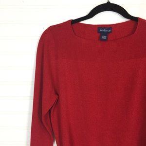 Ann Taylor Red Long Sleeve Top w/belt size L